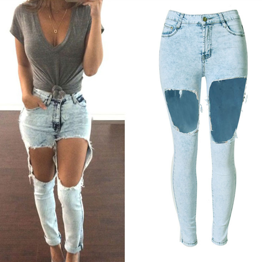 ФОТО O.Beauty 2017 Jeans Woman Light Washed Bleached Loose Ripped Holes High Waist Jeans Denim Sexy Summer Jeans Plus Size Clothing