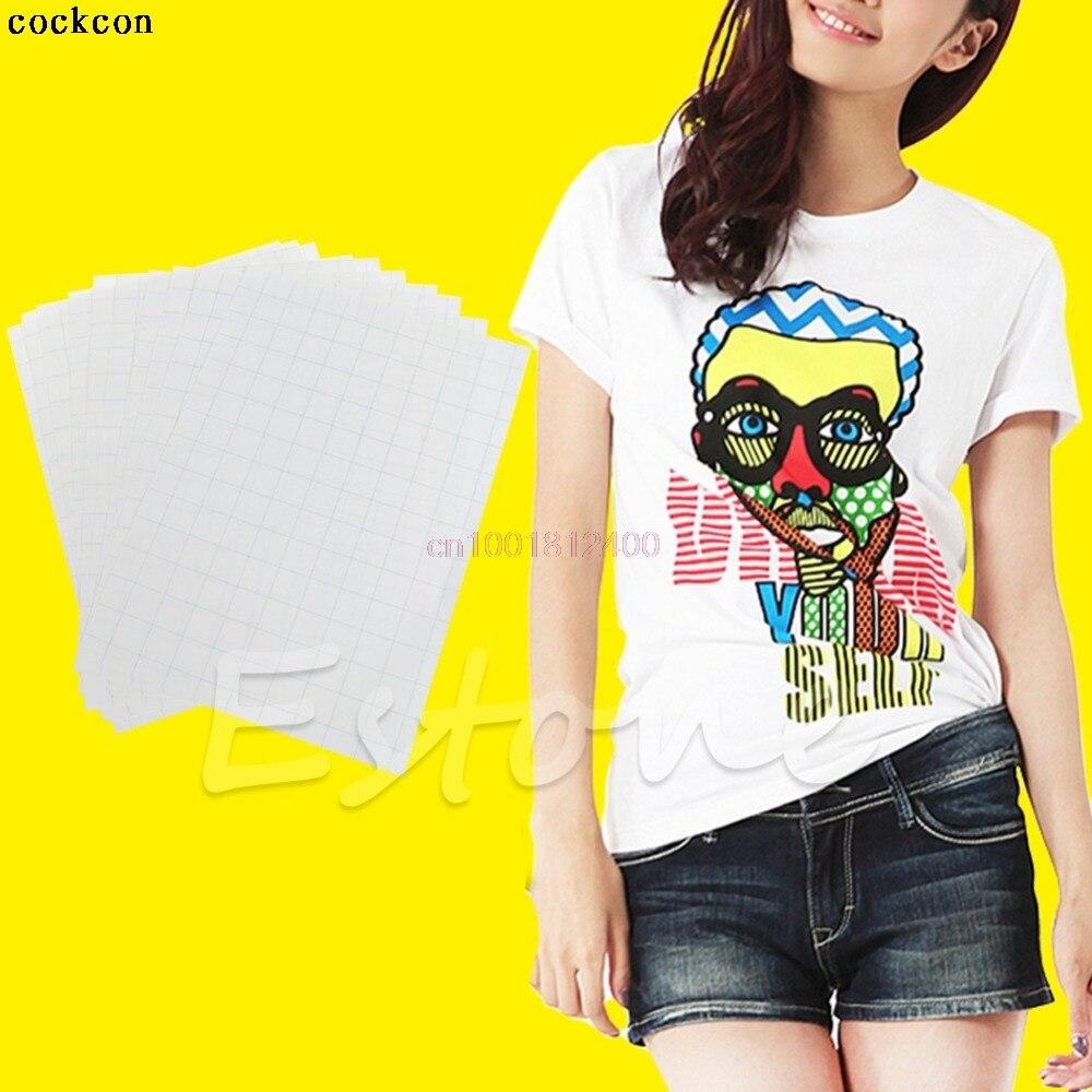 10 Sheets For Cloth T-Shirt Iron On Inkjet Light Fabrics Heat Transfer Paper A4