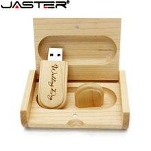JASTER (ücretsiz LOGO) özel LOGO lazer gravür ahşap + kutu pendrive 8GB 16GB 32GB 64GB USB Flash sürücü fotoğraf hediye