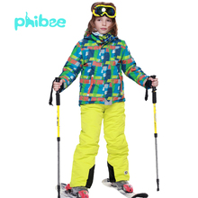Winter phibee Boys Ski Suits Snow Clothing Waterproof Thermal Snowboarding Jackets and Pants Ski Wear -30 Degree PH8011