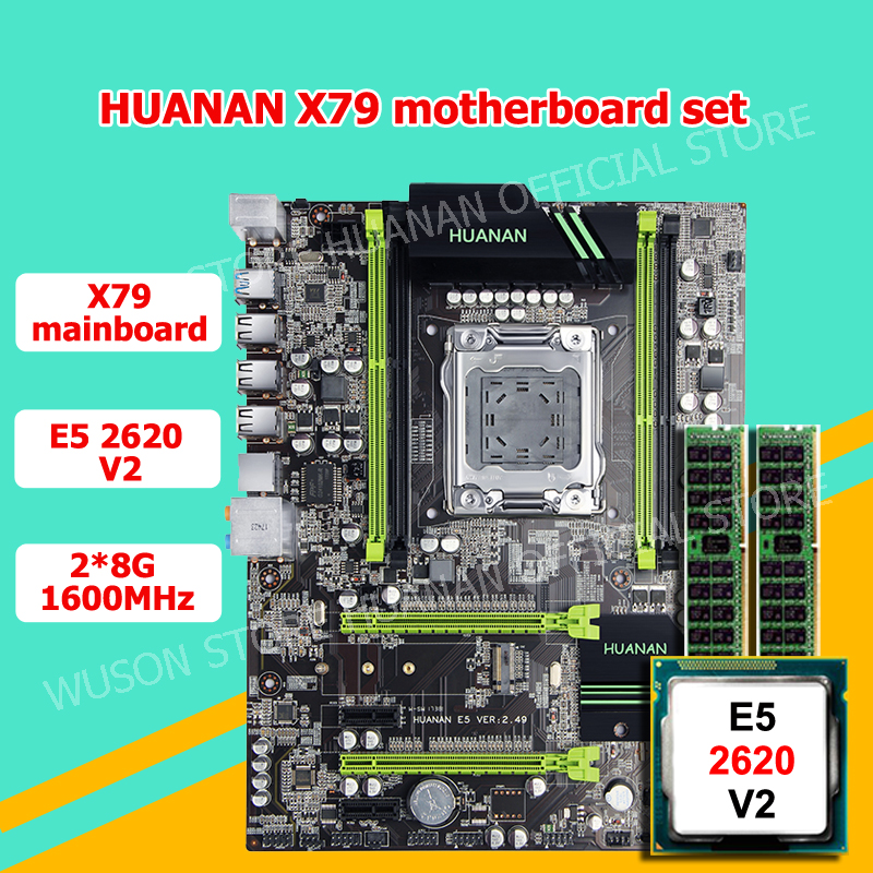 HUANAN V2.49 X79 motherboard CPU RAM combos Xeon E5 2620 V2 CPU (2*8G)16G DDR3 RECC memorry all good tested 2 years warranty