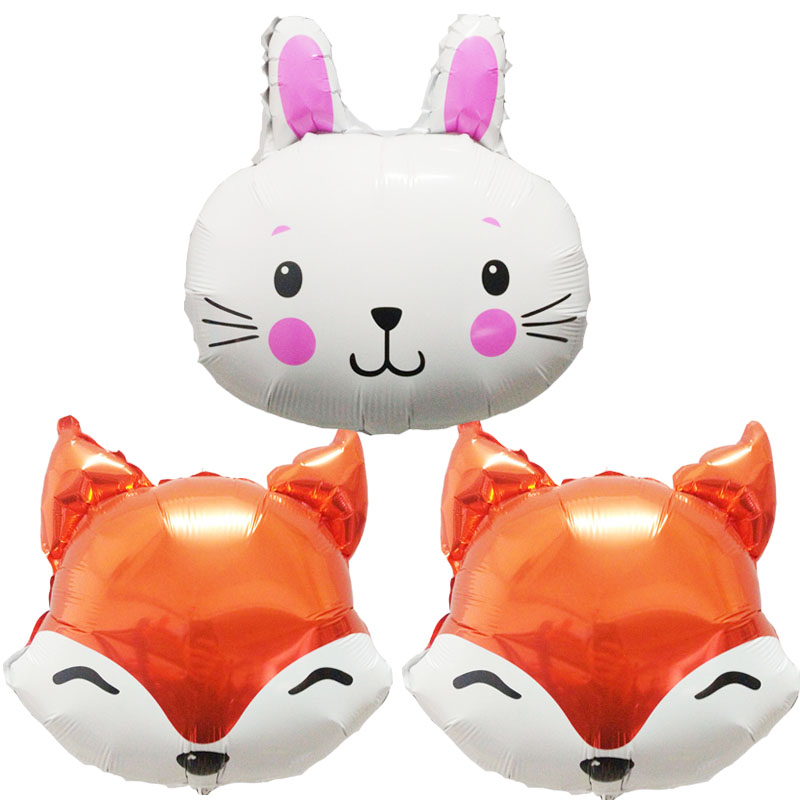 5pcs 18inch animal head foil balloons Fox rabbit toy birthday party decorations balls kids lovely toy baby shower party supplies