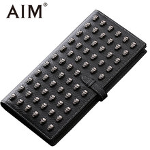 AIM Luxury Genuine Leather Hasp Wallets Men Vintage Steampunk Skull Wallet Cow Leather Man Casual Long Clutch Bags Card Holder