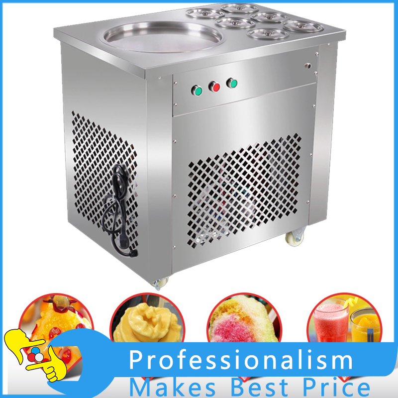 Stainless Steel One Pan Fried Ice Cream Roll Machine Fried Ice Cream Maker Fried Ice Cream Machine 220V 740W 220v 110v ce flat pan fried ice cream roll machine fried ice machine stainless steel freezing ice cream machine with glass cover