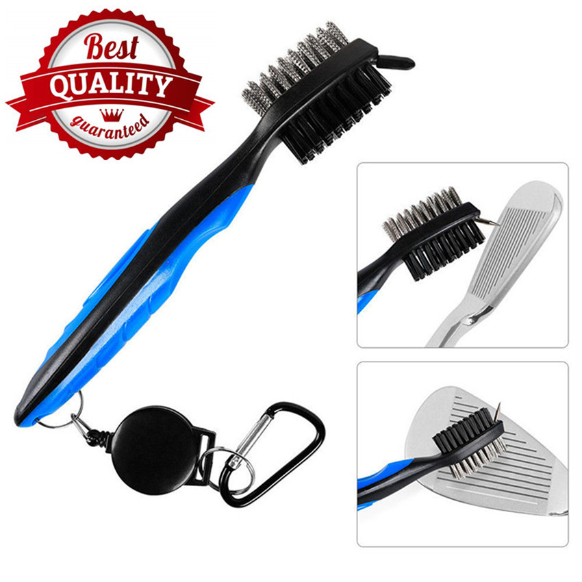 Golf Club Brush Set Cleaner Tool Double Sided Groove Golf Accessories Putter Wedge Hook To Bag Belt Black Red Blue Finger Ten