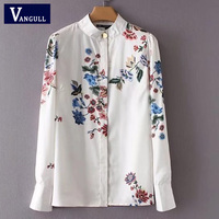 Women New Vintage Elegant Floral Print Shirts Long Sleeve Stand Collar Blouse Retro Ladies Chic Tops