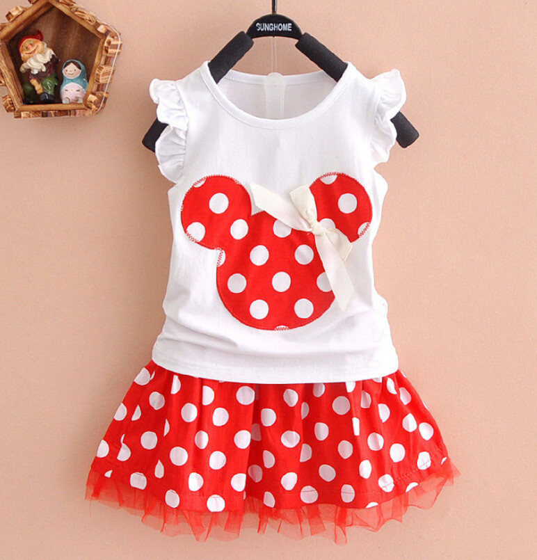 408f9a59d40 Little Girl Summer Clothes Short Sleeve Dot Minnie Toddler Tutu Skirt +  Tshirt Baby Toddler Girls Summer Clothing Set Outfit-in Clothing Sets from  Mother ...