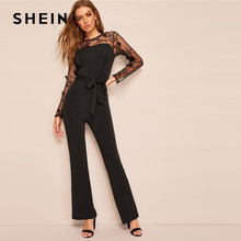1a6bf7e6a2 SHEIN Black Embroidered Mesh Sweetheart Belted Flared Plain Jumpsuit Spring  Women Mid Waist Flare Leg Maxi Jumpsuits