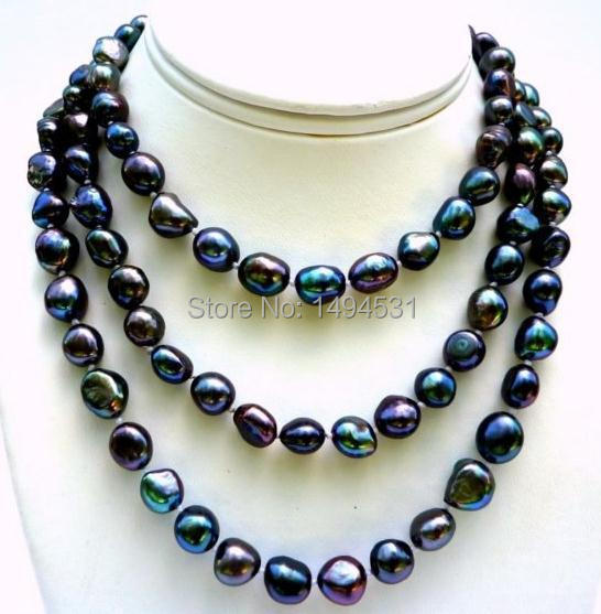 Wholesale Pearl Jewelry - Handmade Long 47 Inches Peacock Black Color Baroque Freshwater Pearl Necklace - New Free Shipping
