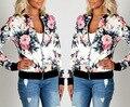 2017 новые моды для женщин осень повседневная vintage цветочный принт плюс размер S-2XL с длинными рукавами основные пальто бейсбол куртки верхняя одежда