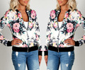 2017 new fashion women autumn casual vintage floral print plus size S-2XL long-sleeve basic coats baseball jacket outerwear