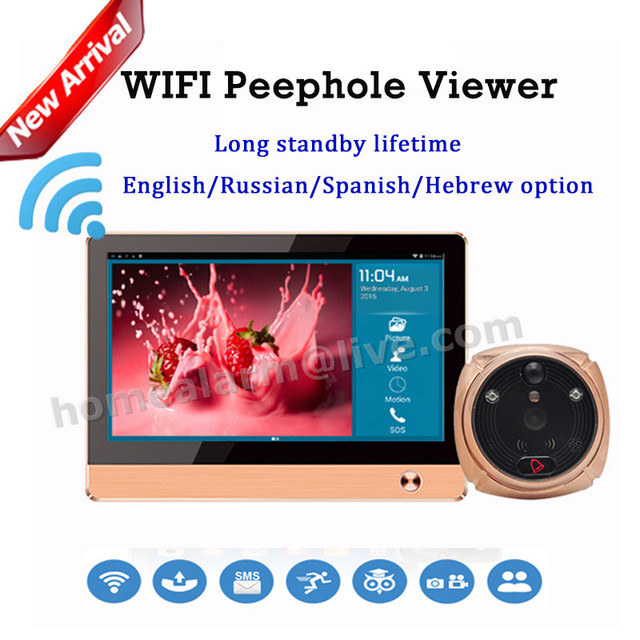 On Sale Rollup iHome4 Android IOS APP Control Wireless Wifi Peephole Video Doorphone Viewer WIFI Peephole Doorbell System