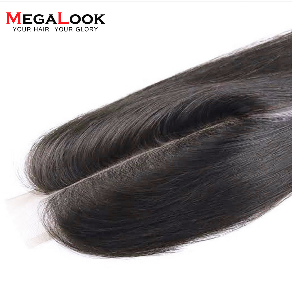Megalook 2X6 Brazilian Kim k Straight Remy Human Hair Lace Closure Natural Color