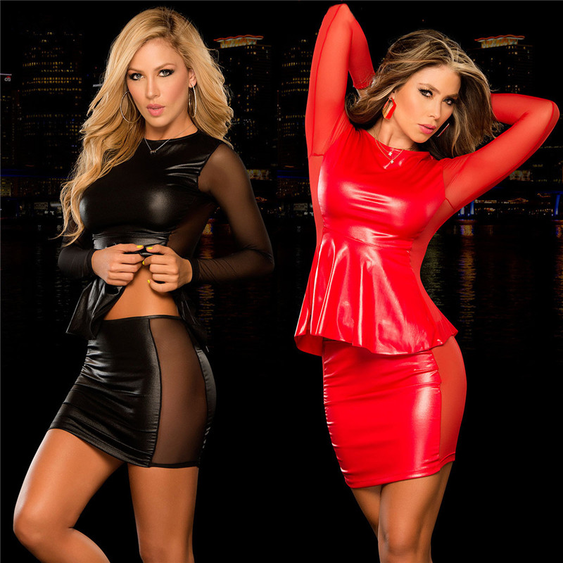Buy Women Sexy Lingerie Sexy Costumes Women Black/Red Latex Leather Pole Dance Sexy Babydoll Dress Erotic Lingerie Sex Underwear