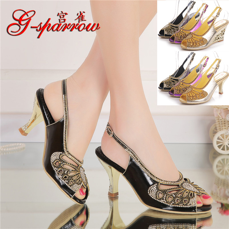 2017 Spring And Summer New Bow Diamond High Heeled Slippers Size 9 Large Size Womens Peep Toe Shoes Wedge Heels Online 2016 summer diamond purple peep toe high heels sandals for sale size 11 hollow female korean style sexy thick womens slippers