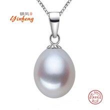 [MeiBaPJ] Classic 925 Arroz Perla Grande Collar Colgante Para Las Mujeres 4 Colores 9-10mm Naturales Joyería de Perlas de agua dulce