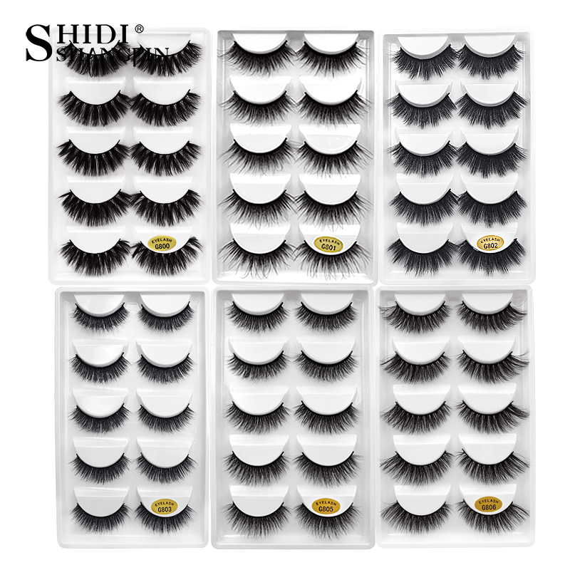 SHIDISHANGPIN 1 Box Mink Eyelashes Natural Long 3d Mink Lashes Hand Made False Lashes Plastic Cotton Stalk Full Strip Lashes G8