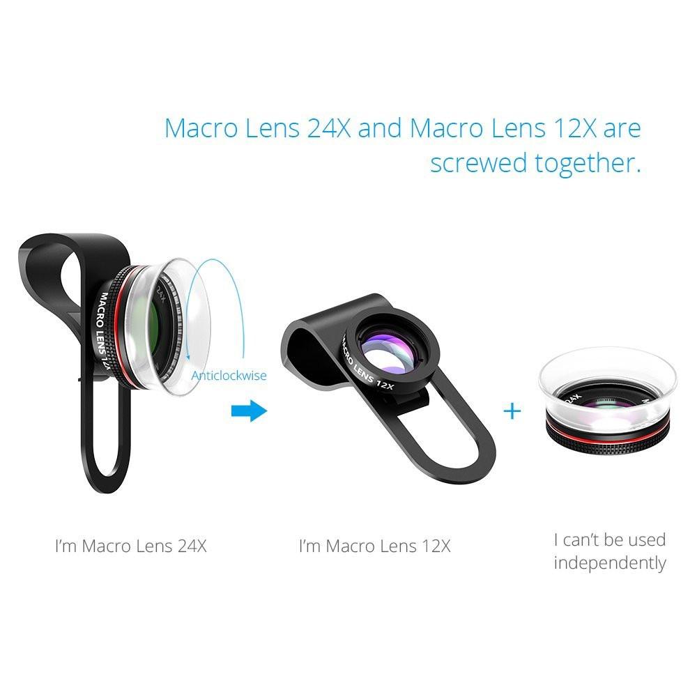 VICTSING Clip-on 3 in 1 Camera Phone Lens Kit Fisheye Lens + 12X Macro + 24X Super Macro Lens for iPhone 6s 6 Plus etc Cellphone 14