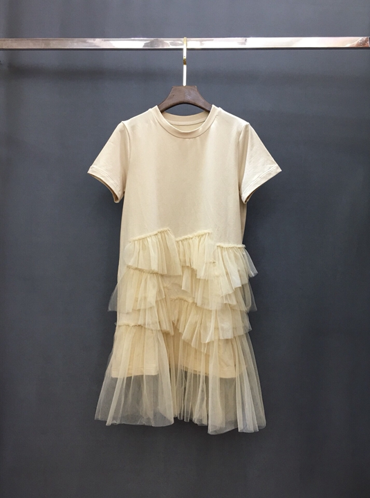 2019 summer new women's ruffled mesh gauze stitching T-shirt dress 523
