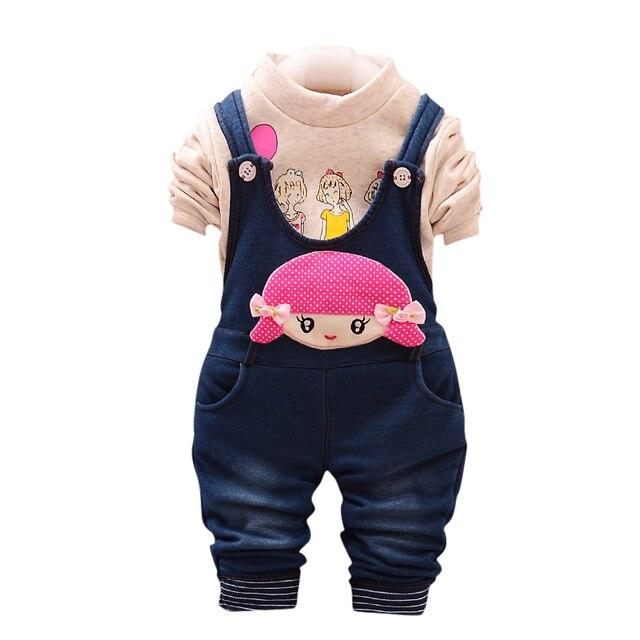 ad95ae31f Otoño invierno ropa bebé niña 0-2 años T-Shirt + Denim vaqueros espesar