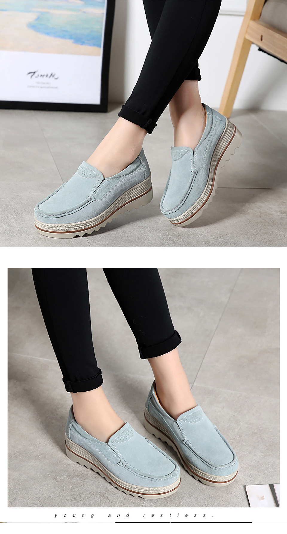 HTB1OaufOhnaK1RjSZFtq6zC2VXas 2019 Spring Women Flats Shoes Platform Sneakers Slip On Flats Leather Suede Ladies Loafers Moccasins Casual Shoes Women Creepers