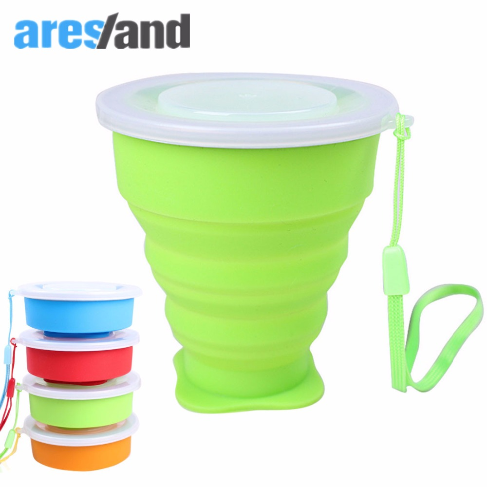 ARESLAND Portable Folding Collapsible Silicone Cup Pop Up Cup Travel Accessories for Man Women Childreen Home Mug with Strap collapsible silicone water cup portable coffee mug