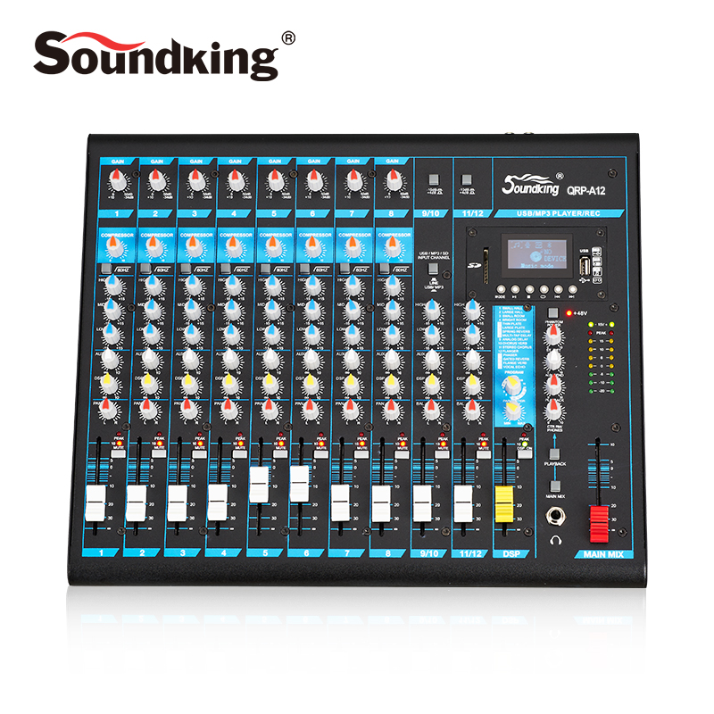Table de mixage analogique Soundking Console de mixage Audio Pro effets DSP de haute qualité Bluetooth USB/carte SD 48 V alimentation fantôme A10/12
