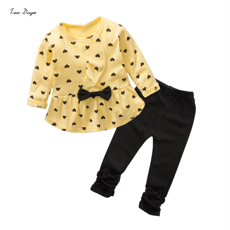 Baby Girls Spring Autumn Clothing Sets Bowknot Lovely T-Shirt+ Pants 2pcs/set Infant Clothes Suits