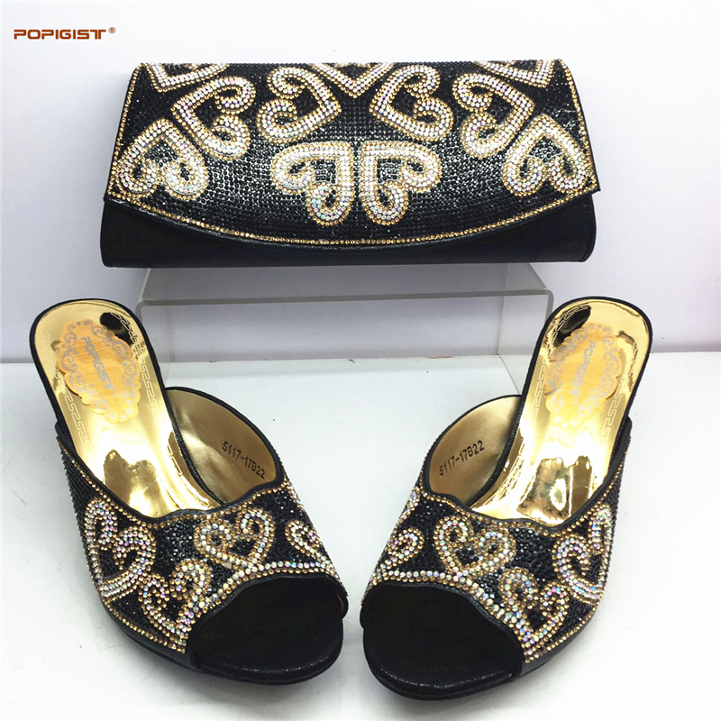 Black Color Italian Woman Shoes And Bags Set African Style High Heels Slipper Shoes And Bag Set ...