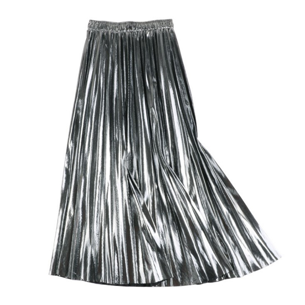 HTB1OauwU3HqK1RjSZFgq6y7JXXa6 - Autumn Women Pleated Skirt Elegant High Waist Women Long Skirt Ladies Silver Gold Metallic Shiny Ankle-Length Maxi Skirt