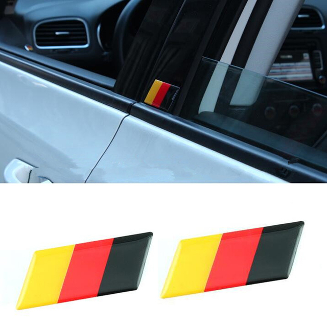 Yaquicka 2pcs epoxy germany german flag auto car emblem badge decal sticker for golf7 mk7 mk6