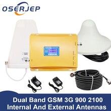 70dB LCD תצוגת GSM 900 3G 2100 mhz Dual Band משחזר GSM 3G UMTS טלפון סלולרי מגבר 3G WCDMA 2100 סלולארי נייד בוסטרים