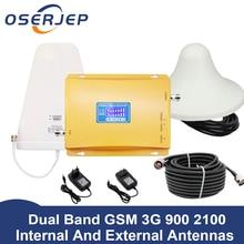 70dB LCD ekran GSM 900 3G 2100 mhz çift bant tekrarlayıcı GSM 3G UMTS cep telefonu amplifikatör 3G WCDMA 2100 cep mobil güçlendirici