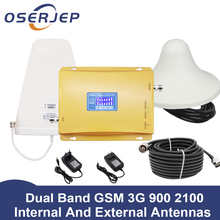 70dB Màn Hình Hiển Thị LCD GSM 900 3G 2100 MHz 2 Băng Tần Sóng GSM 3G UMTS Di Khuếch Đại 3G WCDMA 2100 Tế Bào Di Động Tăng Áp