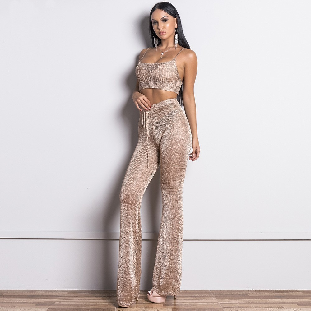Moulante Top Or Mode Pantalon Pièce Gold Muxu Femmes Deux Et Costume Bretelle 2 Rose De Dos Nu Sexy Libres Set Pièces q5wwnAEO