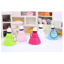 High quality 1 pcs Mini badminton shuttlecock car key chain/keychain/ keyring PVC/ Souvenir Mix color(China)