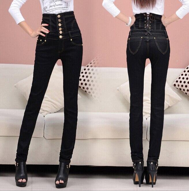 90b0c7c146 S-6XL Plus Size Women's Fashion Retro Finishing Black High Waist Jeans  Button Fly Back Lace Up Elastic Skinny Pencil Pants