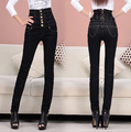 S-6XL Plus Size Women's Fashion Retro Finishing Black High Waist Jeans Button Fly Back Lace Up Elastic Skinny Pencil Pants