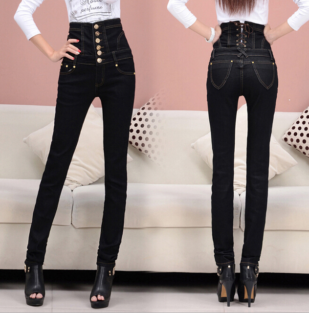 12f8f85ee287 S-6XL Plus Size Women s Fashion Retro Finishing Black High Waist Jeans  Button Fly Back Lace Up Elastic Skinny Pencil Pants