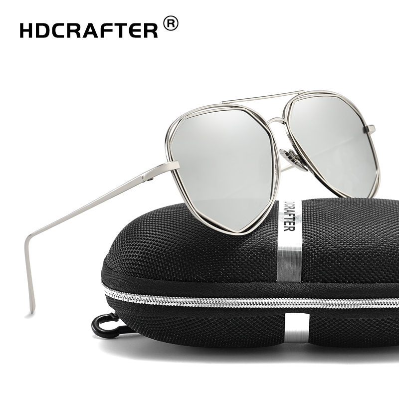 HDCRAFTER Fashion Women Sunglasses Metal Twin-Beams Sun Glasses Brand Designer Aviator Sunglasses