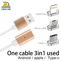 Magnetic USB Charger Cable Adapter Magnetic Cable Fast Charging for Apple iPhone/Micro-USB/Type-C 3in1 Used