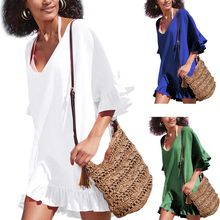 Womens Summer Half Sleeves Bikini Dress Oversized Loose Deep V-Neck Pullover Blouse Ruffles Flounce Trim Swimsuit Cover tiered flounce trim tee