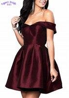 Атласная Homecoming платье линия плеча наряд для выпускного для Для женщин Формальные на шнуровке Простые Короткие вечерние платье HD05