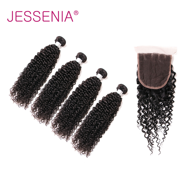 JESSENIA Hair Brazilian Curly Non Remy Human Hair Weaving 4 Bundles With 4*4 Closure For Free Shipping