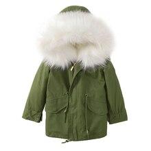2018 Toddler Winter Jackets Full Sleeve Girl Detachabl Faux Fox Fur liner Clothes Boys Camo Hoody Zipper Kid Warm Outwear Parkas