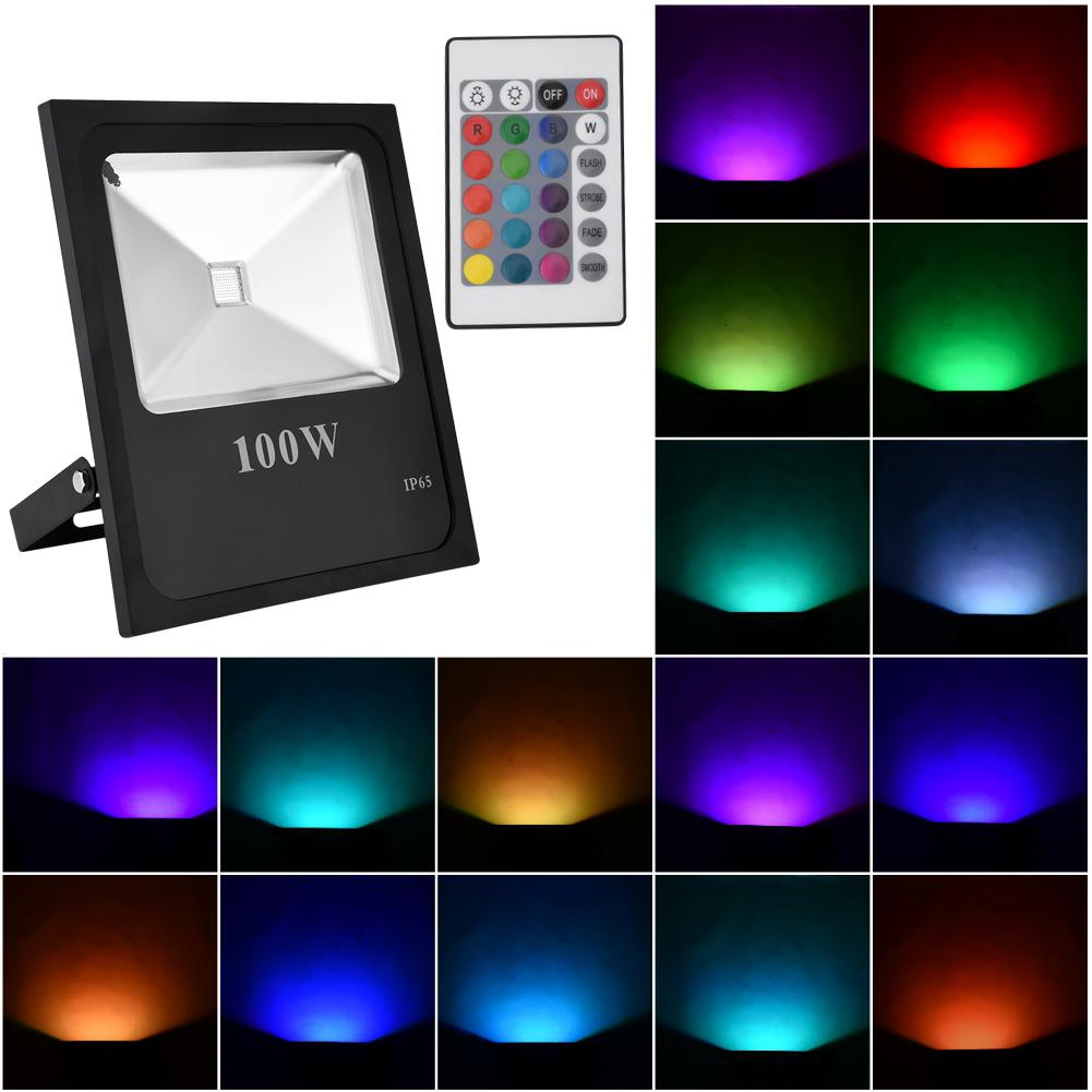 10W/20W/30W/50W/100W Outdoor Waterproof RGB Flood Light AC 85 265V IP65 LED Lawn Landscape Lamp Street Lighting