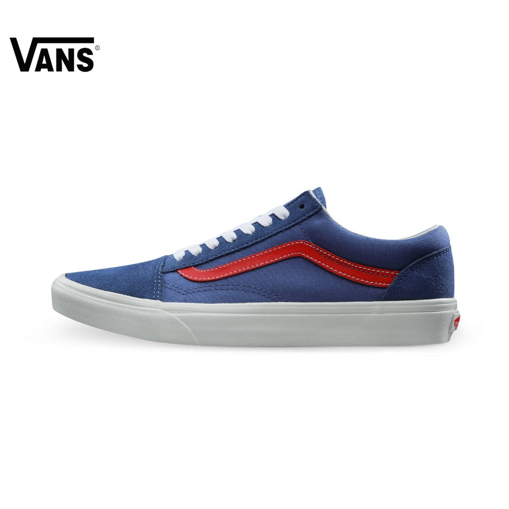 Original Vans Classic Vans Blue Unisex Skateboarding Shoes Old Skool Sports Shoes Sneakers