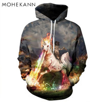 3D Digital Printed Popular Trend Fashionable Unicorn Pattern Men And Women Couples Loose Casual Sweatshirt With