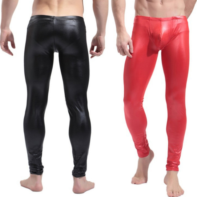 High Elastic Mens Black Red Faux Leather Latex Pencil Leggings Wetlook Bondage Pants Gay Male Fashion Tight Boxer Underwear