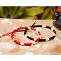 Handmade Lucky S925 Sterling Silver  Beads  Shambala Bracelet Red Rope Bangle  Wax String Fashion Jewelry